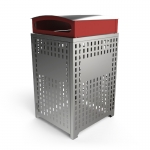 Athens Bin Enclosure - Stainless Steel Laser Cut Curved Cover (Red Chute)