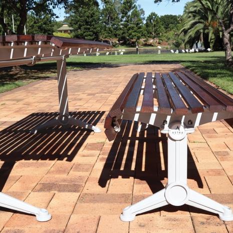 Madrid Setting with Benches - Splay Leg - Merbau Hardwood