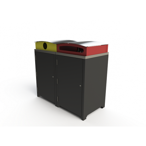Athens Bin Enclosure - Custom Powder Coated Base / Stainless Steel Curved Cover with Red & Yellow Chutes