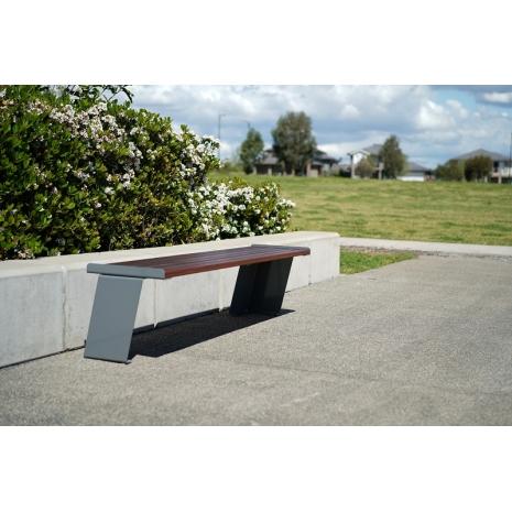 Paris Flat Bench - Merbau Hardwood