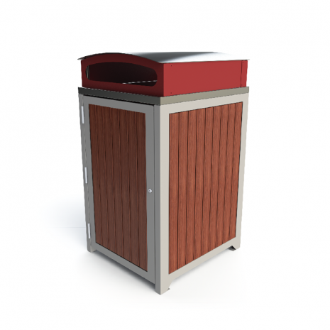 Athens Bin Enclosure - Timber Slat SS Curved Cover (Red Chute)