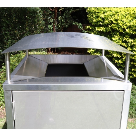Athens Bin Enclosure - Stainless Steel Curved Cover