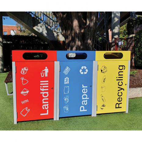 Athens Bin Enclosure - PC Base & Red Cube Cover & Red Door, Blue Cube Cover & Blue Door & Yellow Cube Cover & Yellow Door + Matching Signage