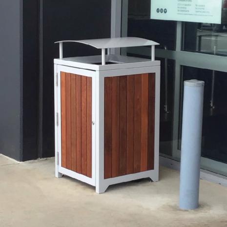 Athens Bin Enclosure - Timber Slat Base Curved Cover