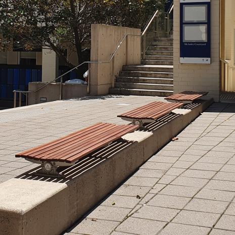 London Bench - Plinth Mount - Merbau Hardwood