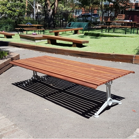 London Double Width Bench - Splay Leg - Merbau Hardwood