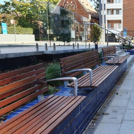 London Seat - Plinth Mount - Merbau Hardwood