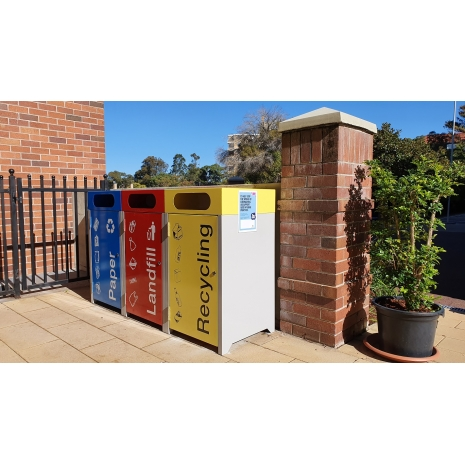 Athens Bin Enclosure - PC Base & Red Cube Cover & Red Door, Blue Cube Cover & Blue Door & Yellow Cube Cover & Yellow Door