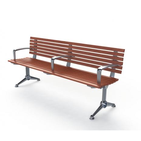London Seat - Splay Leg - Merbau Hardwood (Custom Armrest Added)