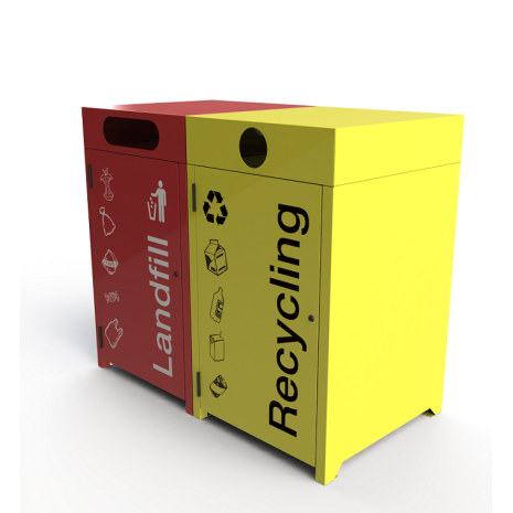 Athens Bin Enclosure - Cube Cover with Custom Coloured Bases & Signage
