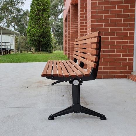 London Seat - Splay Leg (Black) - Merbau Hardwood