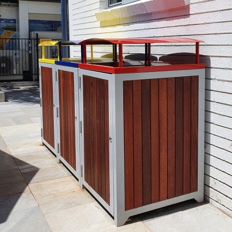 Athens Bin Enclosures - Timber Slat Base with Custom Coloured Curved Covers