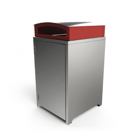 Athens Bin Enclosure - Stainless Steel Curved Cover (Red Chute)