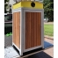 Athens Bin Enclosure - Timber Slat Powder Coated Curved Cover (Yellow Chute)