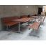 Madrid Setting with Seats - Splay Leg - Wood Grain Aluminium - Western Red Cedar