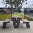 Paris Setting with Flat Benches - Wood Grain Aluminium