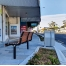 Athens Bin Enclosure - SS Laser Cut Base & SS Sloping Cover + Custom Madrid Seat - In-Ground - Wood Grain Aluminium (Western Red Cedar)