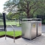 Athens Bin Enclosure - Stainless Steel Curved Cover + Custom Waste & Recycling Signage